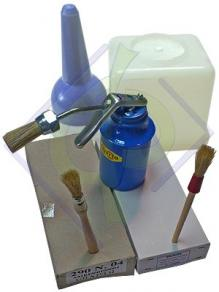 Brushes and glue containers